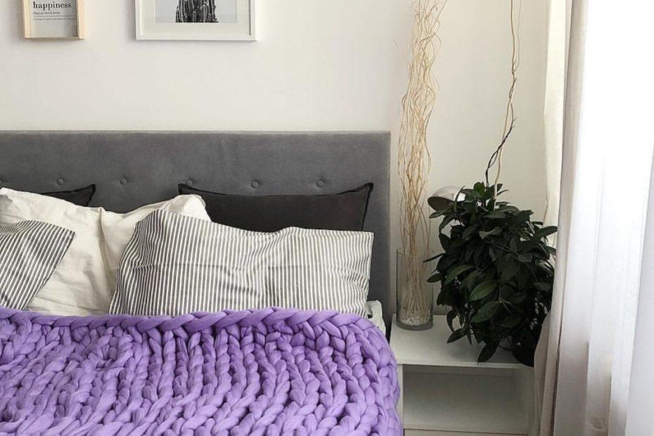 levanduľová merino deka